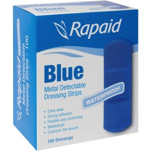 BLUE DETECTABLE EXTRA WIDE STRIPS - BOX 100 1