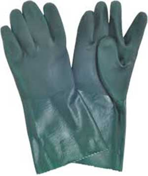 GLOVES PVC GREEN 9-9 1/2 DOUBLE PVC 27CM 1