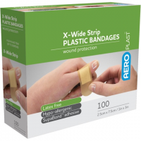 ADHESIVE PLASTIC STRIPS EX-WIDE PKT 100 1