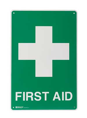 FIRST AID SIGN 45X60CM CROSS & FIRST AID METAL 1